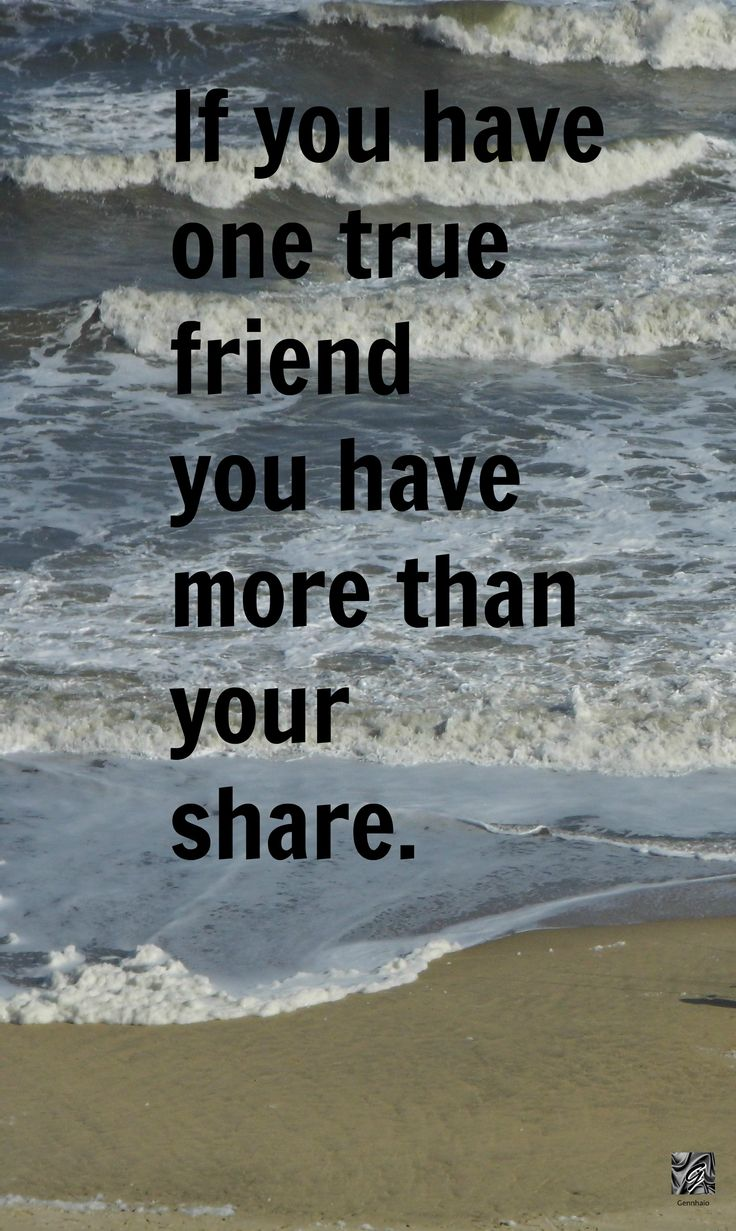 "Quotes on Friendship ""If you have one true friend you have more than your"