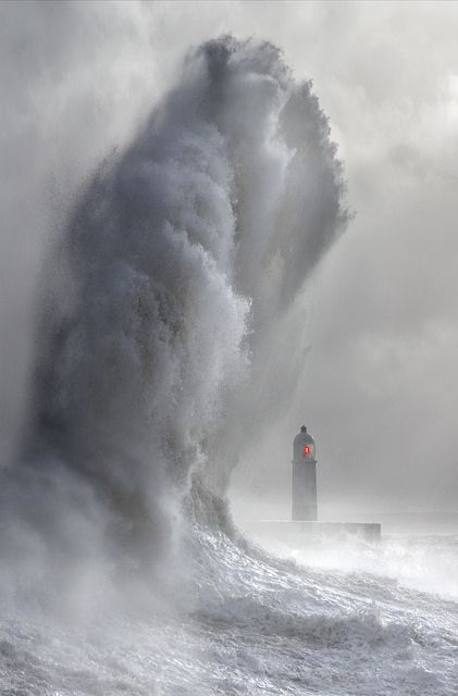 Lighthouse Wave - Giant wave during an epic storm, Porthcawl #Wales.