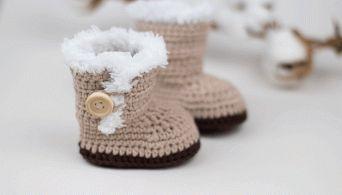 FREE PATTERN: Ugg Inspired Crochet Baby Booties
