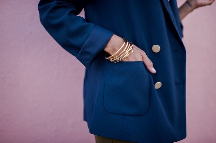 style me grasie : nautical style with elaine // ootd bloggers la los angeles fashion blogger lifestyle collaboration outfit of the day nautical stripes seaside classic casual chic preppy j-crew forever 21 topshop lacausa janna conner bracelets stripes striped jewelry gold blazer