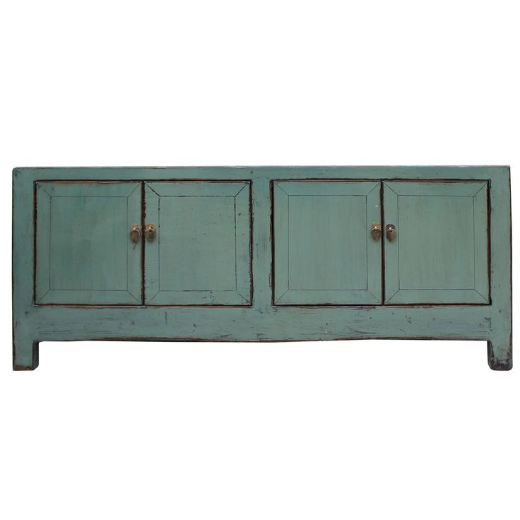Chinese Distressed Teal Gray Low Tv Console Table Cabinet