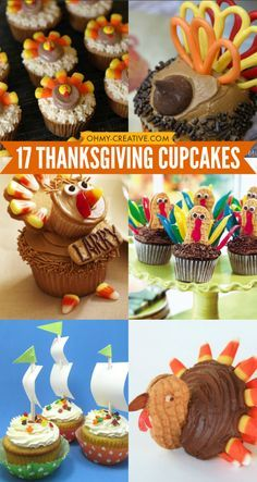 17 Thanksgiving Cupcakes to make for your family and friends - so many ways to make cute turkey cupcakes and other Thanksgiving themed cupcakes!  OHMY-CREATIVE.COM #ThanksgivingRecipes #ThankgivingDessertIdeas #thanksgivingcupcakes #cupcakes #Turkeycupcakes #thanksgivingideas