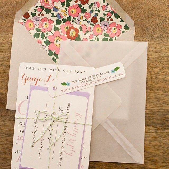 I used #libertyprint to line my wedding invitations. All of them hand cut by me and my bridesmaids #libertywedding - Thanks to gingeryunji via instagram