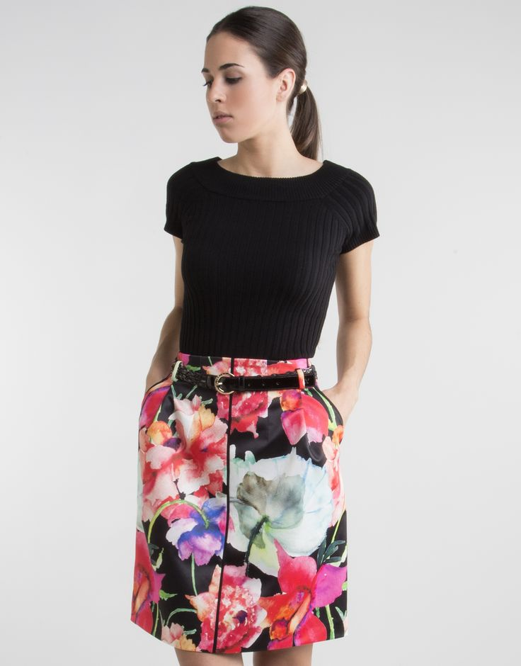Falda estampado floral - Faldas - Mujer | Roberto Verino