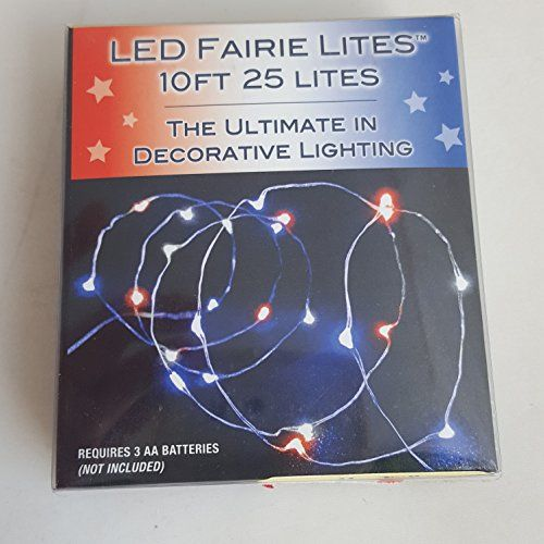 BATTERY OPERATED 25/L ULTRA THIN LED RED WHITE AND BLUE ALTERNATING AND STEADY BURN FAIRIE STRING LIGHT SET