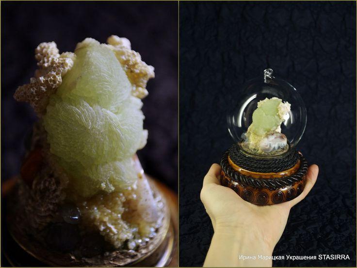 Купить Шар стеклянный с минералами Каменный сад - стеклянный шар, композиция из минералов, сувенир из минералов