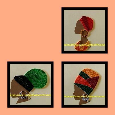 Quadrinhos com mulheres africanas em quilling
