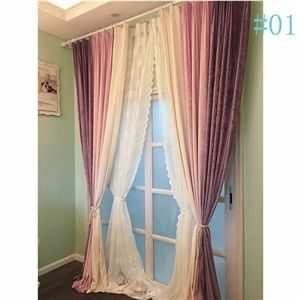 Countryside Autumn and Winter Thick Warm Chenille Curtains Soild Color Chenille Curtains