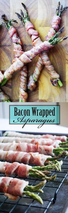 Simple bacon wrapped asparagus! A bundle of asparagus wrapped in thick cut bacon.