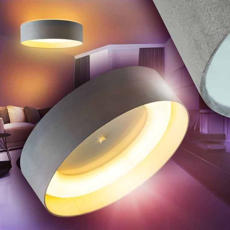 LED Deckenleuchte Strahler Stoff Deckenlampe Flur Wohn Zimmer Lampe Kchen Grau