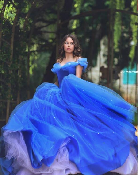 118a4e21d5 Royal Blue Ball Gown Princess Dresses Off Shoulder Floor Length Stunning Prom  Dresses
