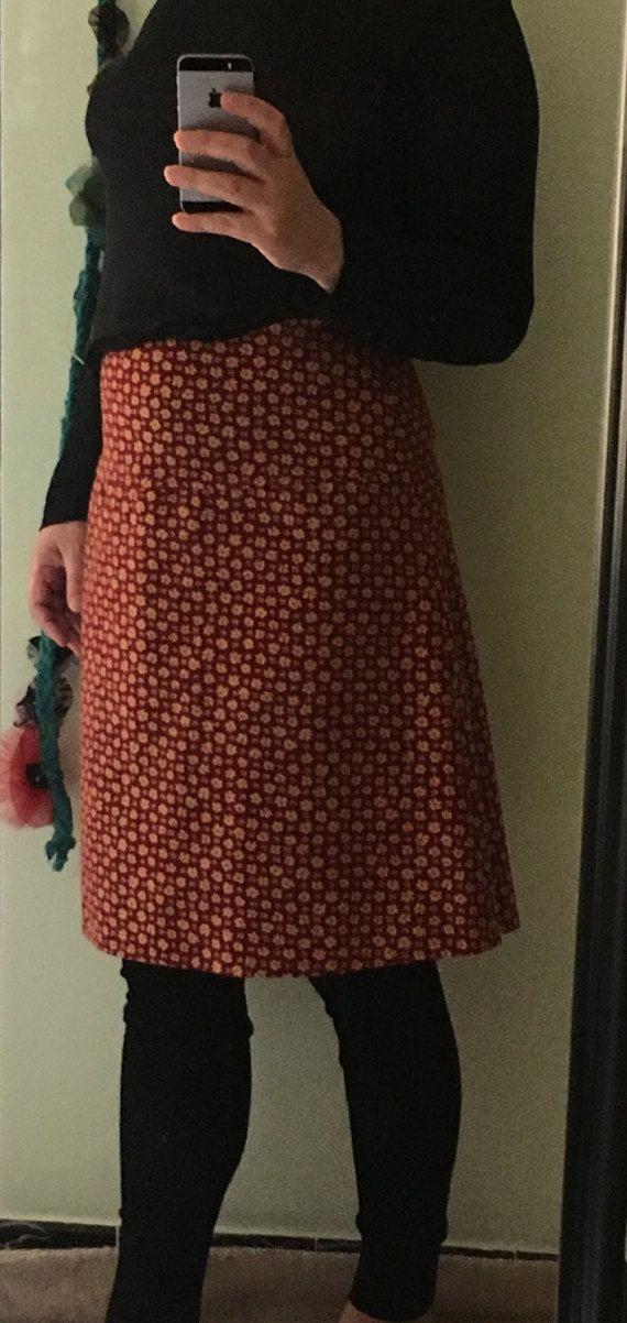 falda evase de algodon con pieza a la por Victoestudio en Etsy