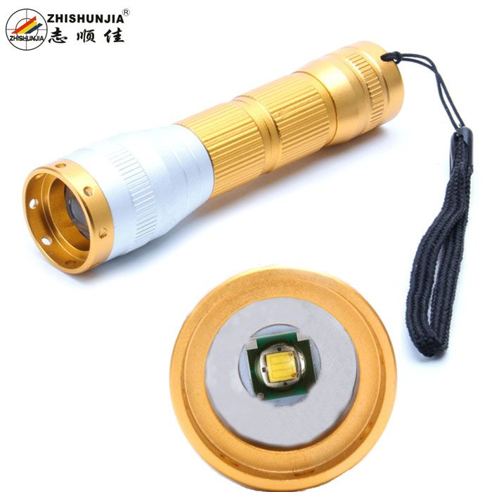 ZHISHUNJIA FB03 XP-E Q5 LED 400lm 3-Mode Cool White Zooming Flashlight - Golden (1 x 14500 / 1 x AA). Color Golden Model FB03 Quantity 1 Set Material Aluminum alloy Emitter Brand Others,N/A LED Type XP-E Emitter BIN Q5 Color BIN Cool White Number of Emitters 1 Working Voltage 1.5~3.7 V Power Supply 1 x 14500 / 1 x AA battery (not included) Current 1.5 A Theoretical Lumens 500 lumens Actual Lumens 400 lumens Runtime 3 Hour Number of Modes 3 Mode Arrangement Hi,Low,Fast Strobe Mode Memory Yes…