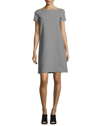 Cross-Back+Textured+Striped+Jersey+Shift+Dress,+Black/White+by+Lafayette+148+New+York+at+Neiman+Marcus.