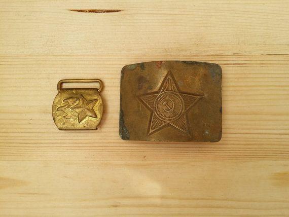 Set of 2 Soviet Military Buckles Metal Belt от USSRVintageShopUSSR