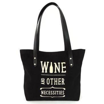 Wine & Other Necessities Canvas Market Tote  | Original screen printed design. We've partnered with Ashbury Images for all of our screen printing projects, a non-profit that employs 30 at-risk youth interns just a few blocks from us in San Francisco. in Black