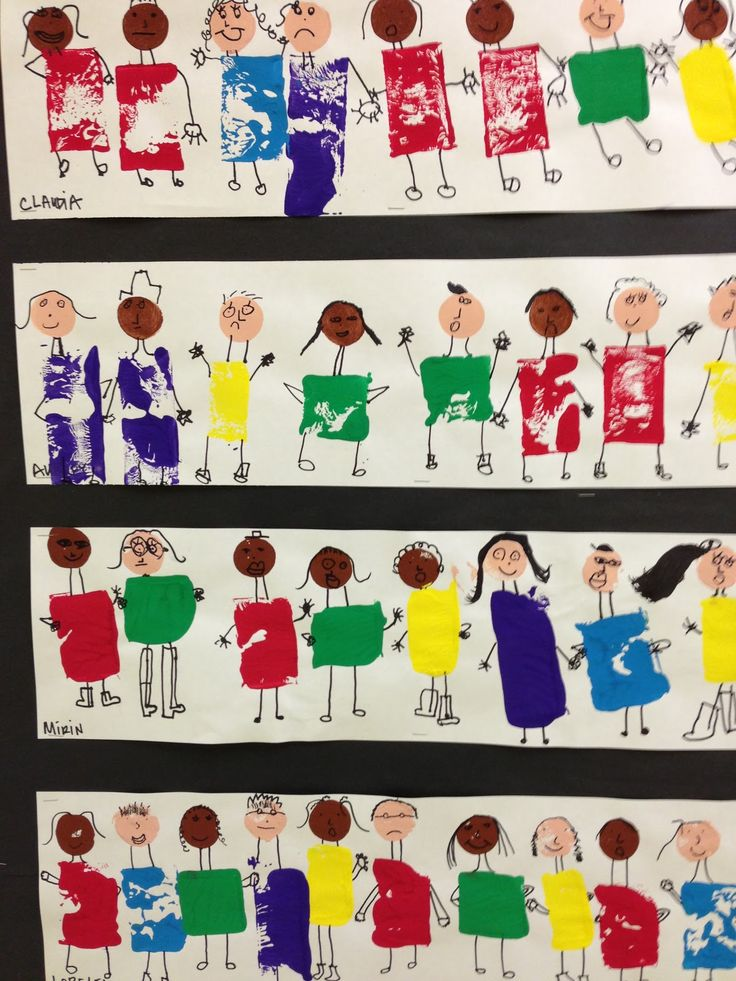 """Shape people - 'Friends come in all shapes and sizes' - from Apex Elementary Art ("""",)"""