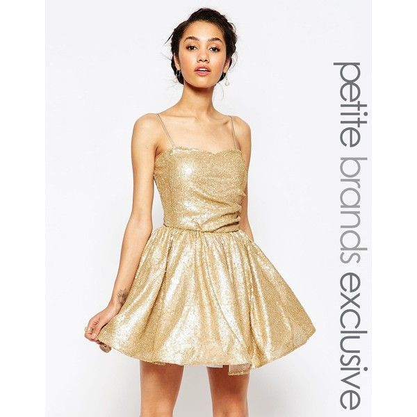 Maya Petite Sequin Prom Dress (225 AUD) ❤ liked on Polyvore featuring dresses, gold, sequin prom dresses, white mesh dress, white sequin cocktail dress, sequin dress and sweetheart prom dresses