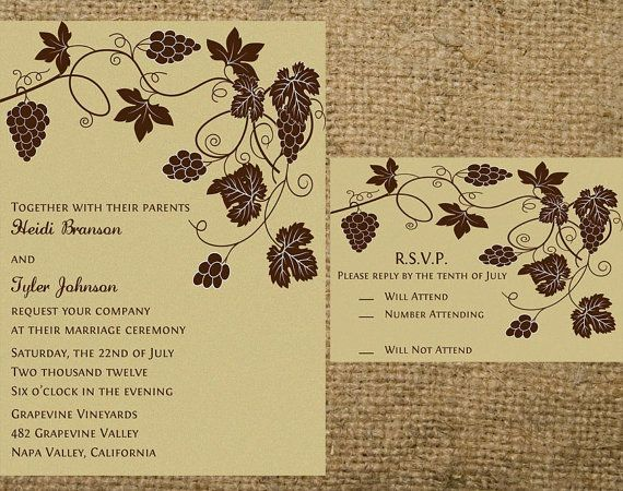 PRINTABLE Grapevine Vineyard Wedding Invitation by NotableAffairs, $35.00