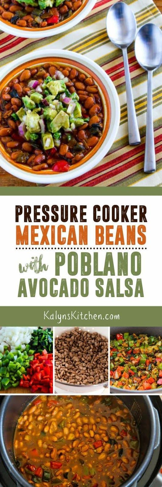 Use an electric pressure cooker, the Instant Pot, or a stovetop pressure cooker to make these absolutely amazing Pressure Cooker Mexican Beans with Avocado-Poblano Salsa; pressure cooker beans are not always that photogenic, but these beans are delicious. And this recipe is low-glycemic, gluten-free, dairy-free, vegan, and South Beach Diet friendly. [found on KalynsKitchen.com]