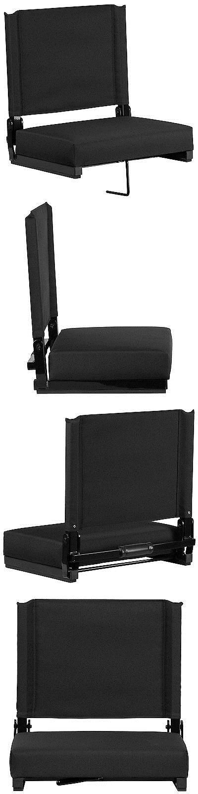 Other Outdoor Sports 159048: Bleacher Seats With Backs Black Stadium Chair Cushion Comfy Portable New Games -> BUY IT NOW ONLY: $55.07 on eBay!