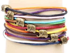 Bratara Leather Elephant Rainbow