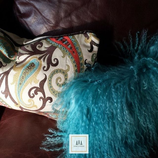 #DesignTipTuesday Mix and match your pillows with a turquoise Mongolian fur pillow!