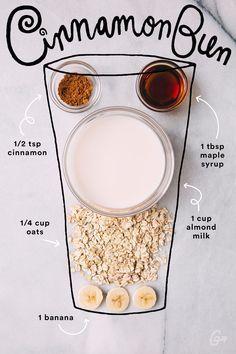 Yum! A healthy smoothie recipe that tastes like a cinnamon bun! Best healthy breakfast idea ever!