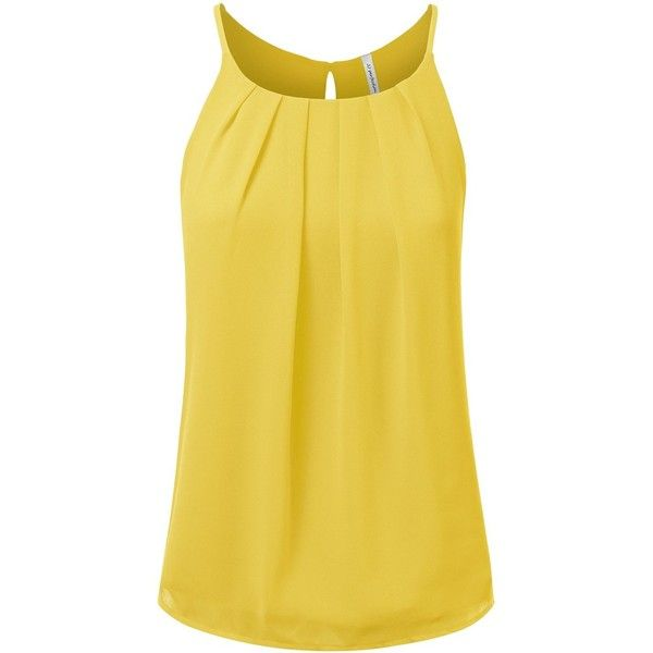 JJ Perfection Women's Round Neck Front Pleated Chiffon Cami Tank Top ($23) ❤ liked on Polyvore featuring tops, yellow top, camisole tank tops, yellow cami, camisole tank and chiffon tank top