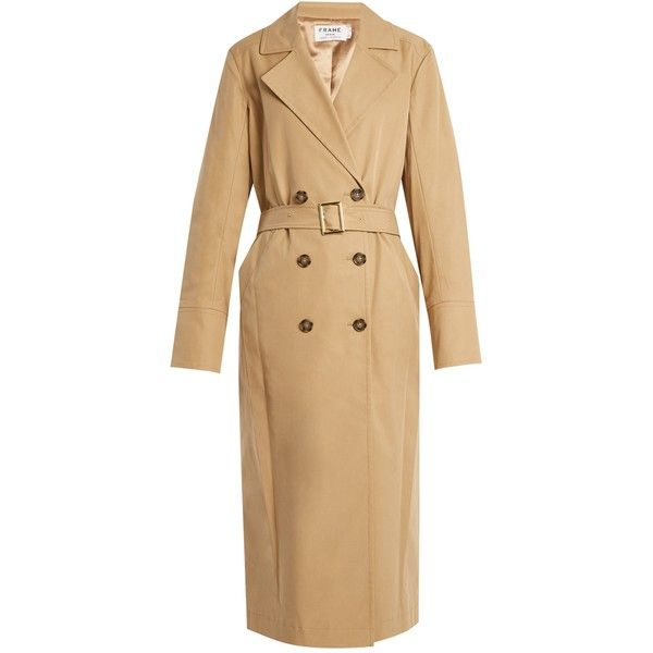 Frame Belted double-breasted trench coat ($290) ❤ liked on Polyvore featuring outerwear, coats, trench coat, tan, double breasted belted coat, beige coat, belted coat, tan trench coat and double-breasted trench coat