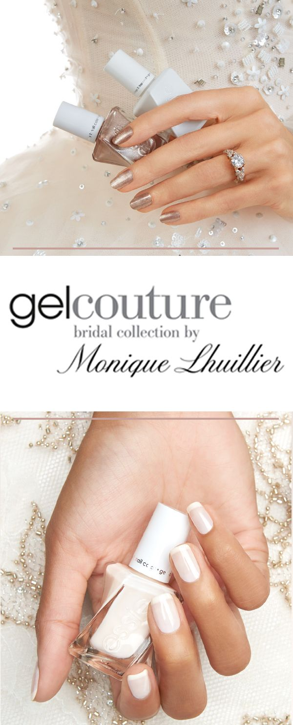 From the moment a woman lays eyes on her engagement ring, her manicure becomes the centrepiece of countless photos and special wedding moments. To help with a picture perfect manicure for every occasion along the way, Essie is thrilled to introduce the new, limited edition Gel Couture bridal collection by Monique Lhuillier. Gel couture is the perfect pair: an easy 2-step system of elegant colour and topcoat for impeccable gel-shine.