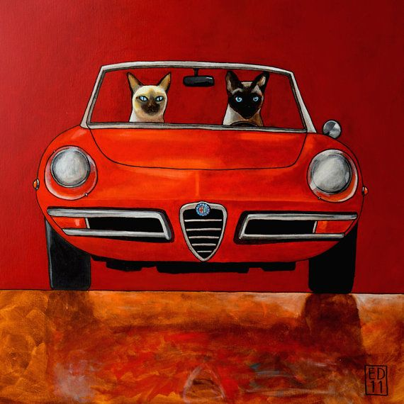 Cats in a cabrio art print by Ed van der Hoek, available from edart on Etsy