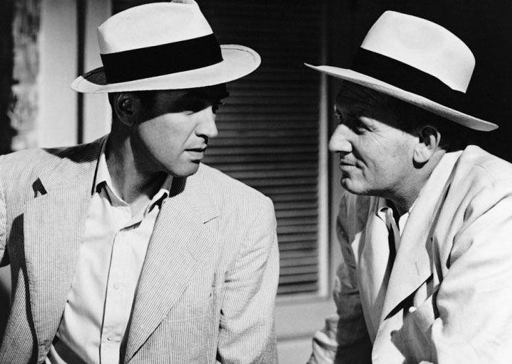 "James Stewart y Spencer Tracy en ""Malaca"", 1949"