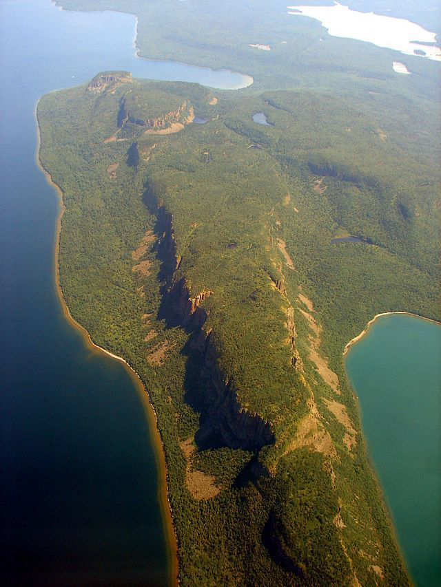 Places In Canada You Won't Believe Actually Exist - this is the Sleeping Giant in Thunder Bay , Ontario from the Air.