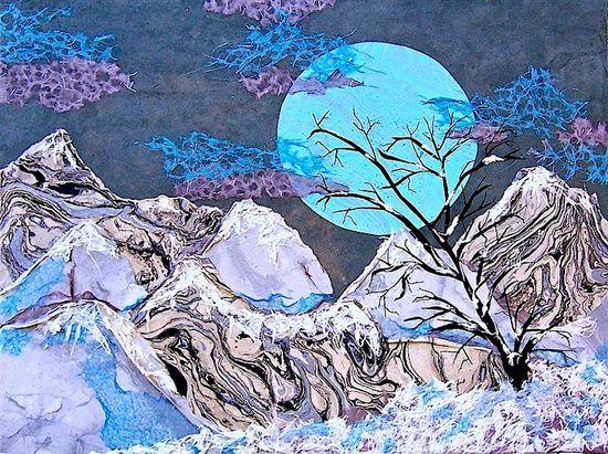 Bubblegum Moon (#Chigirie, 18x24) by Barbara Harmer. Read > Paper Love: The Ancient Art of Chigirie at ClothPaperScissors.com. ^ch #paperart