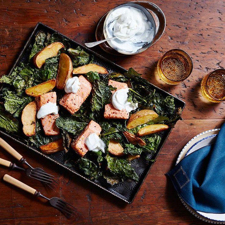 Saumon sur la plaque avec chou frisé croustillant et pommes de terre Recette | Weight Watchers Canada