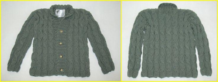 Cardigan lã entrançado para Rapaz - 100% merino lã superwash.