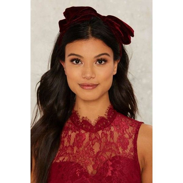 Claremont Velvet Bow Headband ($18) ❤ liked on Polyvore featuring accessories, hair accessories, red, velvet headband, hair band headband, red headband, red hair accessories and red bow headwrap