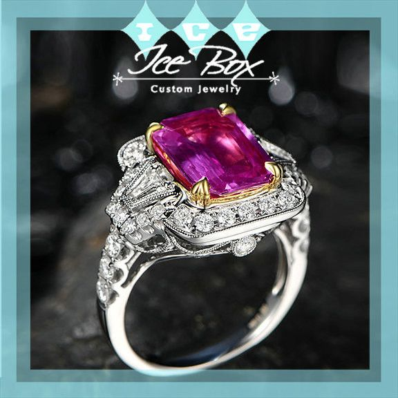 Tourmaline Engagement Ring 2.6ct Cushion Cut Tourmaline set in a 14k White and Yellow gold Diamond Halo Setting