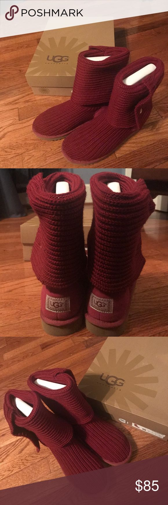 BRAND NEW UGG Cardy Knit Boots with Original Box!! The UGG boots are in perfect condition. They are from the Cardy Knit boot line. They have been worn once. They can be worn folded down and come up mid calf or unfolded and come slightly below the knee. They will be shipped in the original box. The color is Burgundy. UGG Shoes Winter & Rain Boots