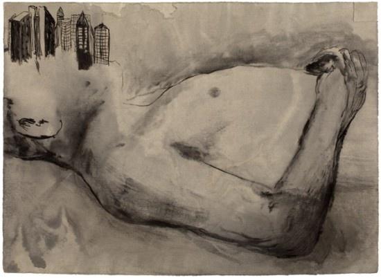 Elina Merenmies. City, 2010. Ink on handmade paper, 47,5 x 65 cm.