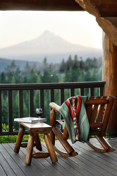 A glass of wine, a rocking chair, and gorgeous views — who could ask for more? The best place to do it is Sakura Ridge, in Hood River, Oregon.
