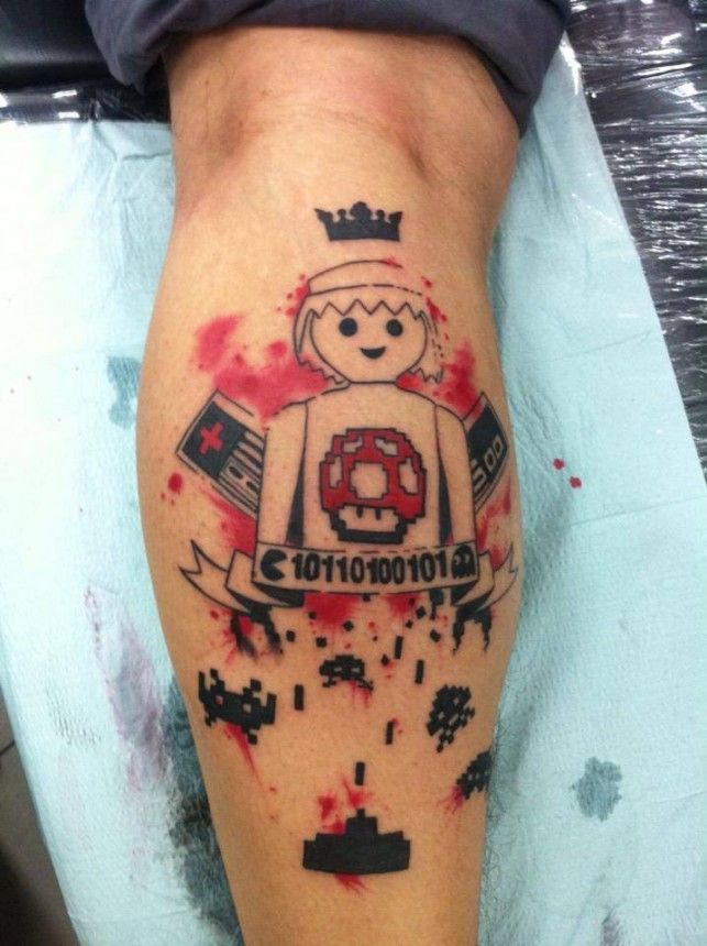 _ playmobil & video game tattoo by mel wink _