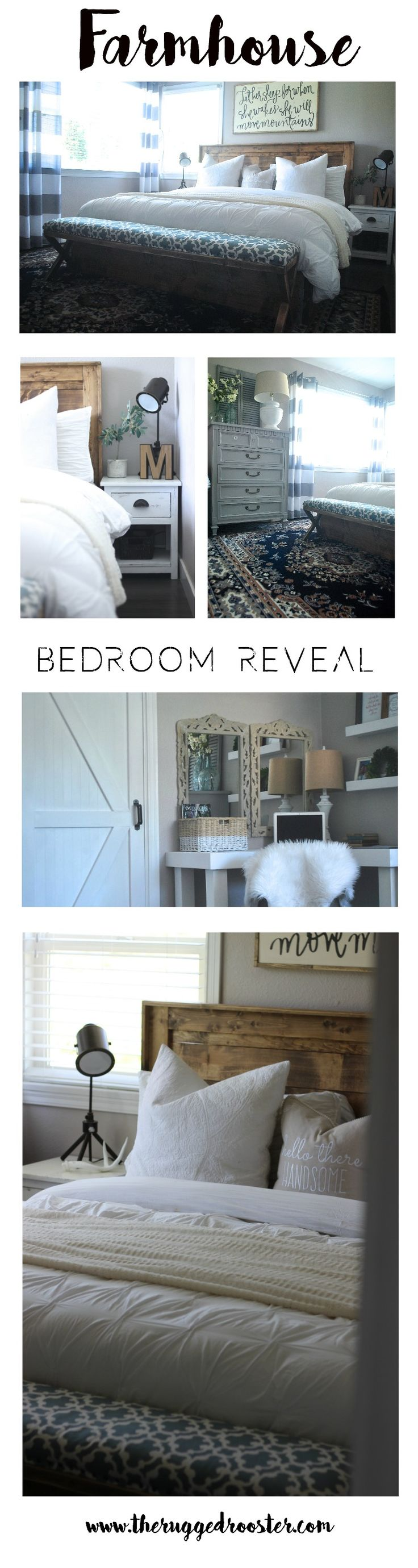 www.theruggedrooster.com/bedroom-reveal/ Our Farmhouse Bedroom Reveal. Tips & Tricks To style your Farmhouse Bedroom For Cheap. Build Your Own Rustic Furniture. Step By Step Tutorials and Easy DIY 's. Our Home Blog will teach you how to make a fixer upper home for pennies! #luckofthepin #farmhouse #fixerupper