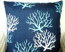 OUTDOOR Nautical Pillows, Throw Pillows, Cushion Covers, Navy Blue Aqua White Isadella, Beach Decor, Coral Pillow, One or More All Sizes