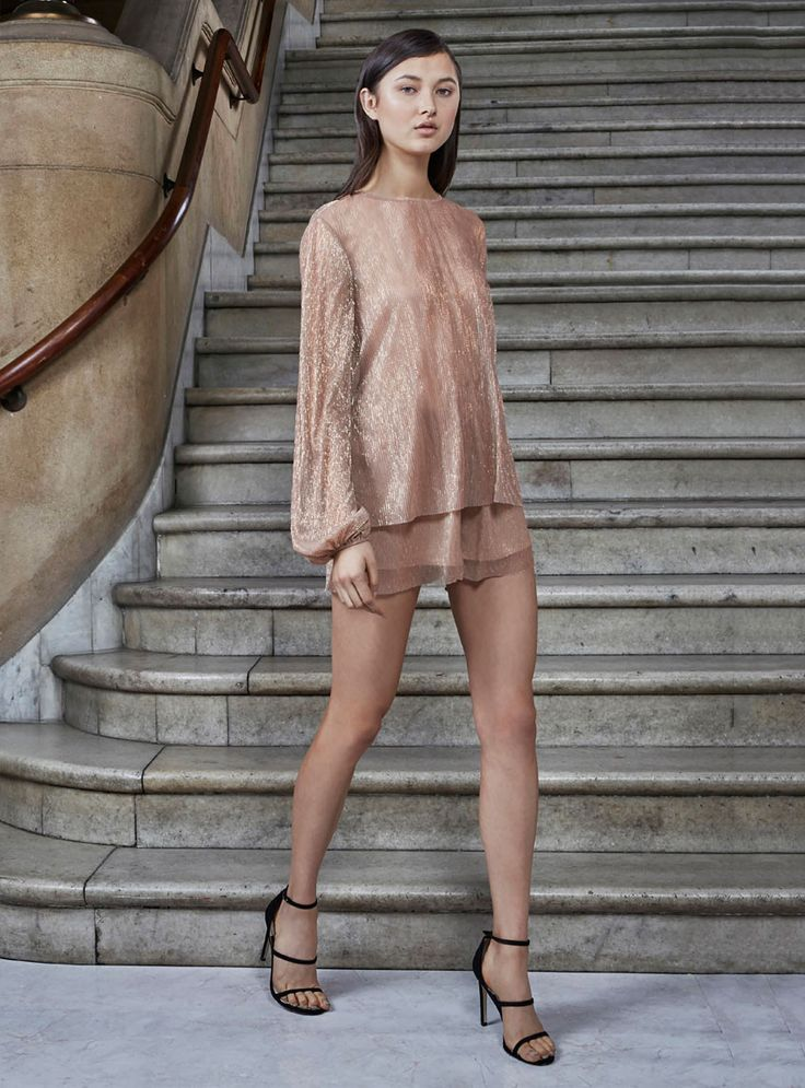 Keepsake - Fading Out Sheer Lined Shorts In Rose Gold Lurex