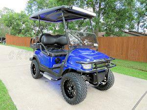 New style custom Alpha body in Off-Road Blue color on a 2014 Club Car Precedent 48 volt golf cart
