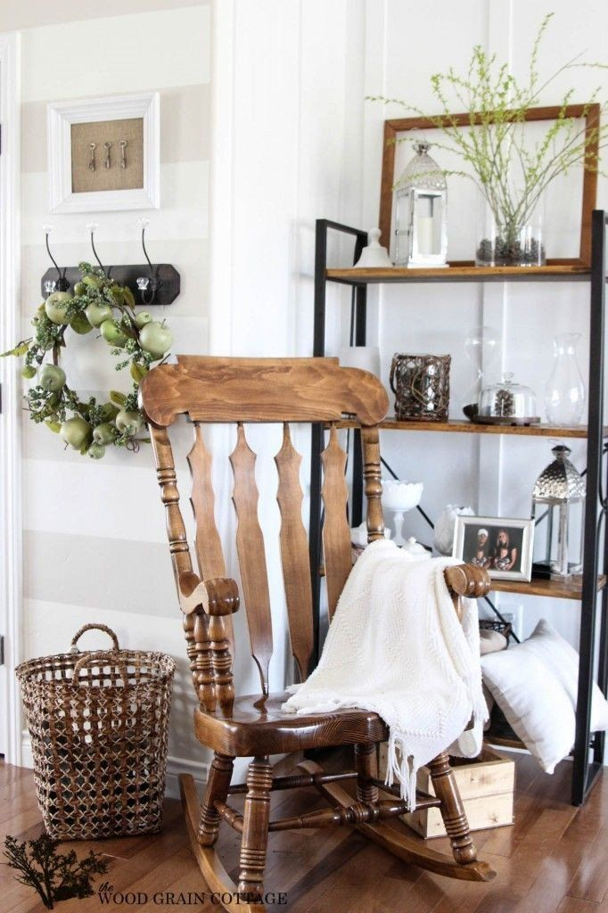 Rocking Chair In Living Room Decor Spring Decorating Home Decor Farmhouse Rocking Chairs Decor