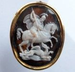 """Large """" and very finely carved sardonyx cameo of Saint George,patron Saint of England slaying the dragon.The cameo is depicting St George in the classical early stance of the """"official """" version based on traditional Byzantine icons and wall paintings. English ca 1660. Probably made originally for the insignia of the Order of the Garter./ The age and this connection makes the cameo very rare/"""