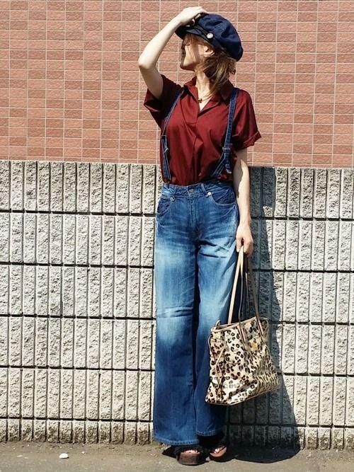 買ってからずっと着てなかったUNIQLOのスキッパーポロシャツ。 ワイン色っぽいブラウン。 サスペン